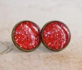 Stud Earrings - Resin Jewelry, Fake Plugs, Red Glitter Earrings, 12mm - DOROTHY
