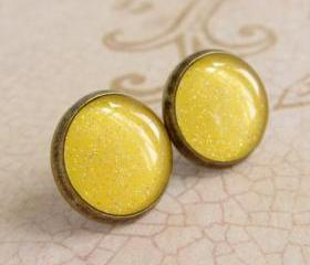 Yellow Earrings, Post Earrings, Stud Earrings, Resin Earrings, Glitter Earrings, Sparkly Earrings, Fake Plugs, Faux Plugs