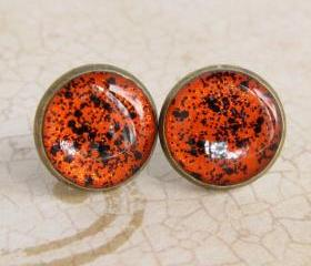 Halloween Jewelry - Stud Earrings, Glitter Fake Plugs, Resin Jewelry - SPOOKY ORANGE