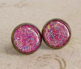 Glitter Earrings - Neon Pink Stud Earrings, Resin Fake Plugs - PARTY GIRL