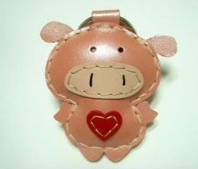 Polly the Pig Leather Keychain ( Metallic Pink )