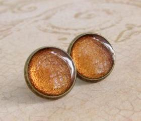 Copper Earrings, Post Earrings, Stud Earrings, Resin Earrings, Glitter Earrings, Sparkly Earrings, Fake Plugs, Faux Plugs