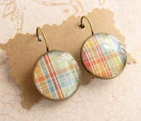 Plaid Earrings, Leverback Earrings, Country Style, Resin Earrings, Resin Jewelry