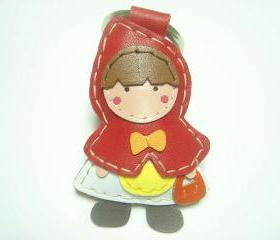 Red Riding Hood leather keychain ( Red )