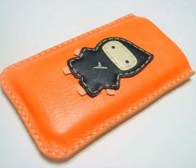 Taka the Ninja iPhone leather case ( Bright Orange / Black )