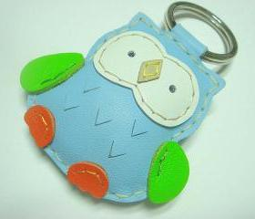 Fanny the Owl Leather Keychain ( Light Blue )