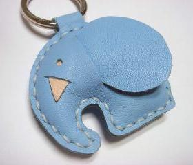 Laura the Elephant Leather Keychain ( Light Blue )
