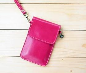 iPhone case, Leather bag with hand strap, PINK