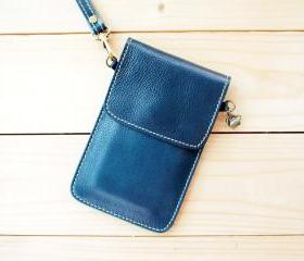 iPhone case, Leather bag with hand strap, BLUE