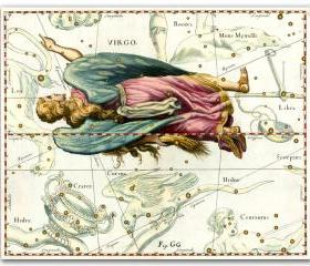 Zodiac Sign Virgo Constellation, vintage celestial map printed on parchment paper. Buy 3 and get 1 FREE