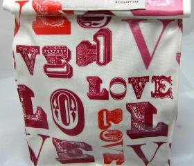 Oilcloth Lunch Bag - Love Me 