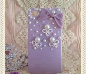 Free shipping - Pearl and bow iphone case for 4/4S (back only)- purple