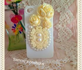 Free shipping - Rose, lace and pearl iphone case (back only) - Ivory
