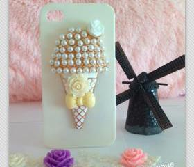 Free shipping - Ice cream bling Iphone case (back only) - ivory