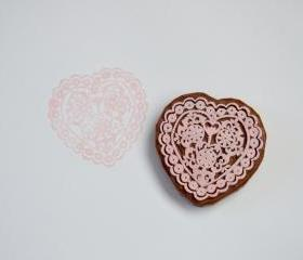 Hand Carved Rubber Stamp / Doily Heart