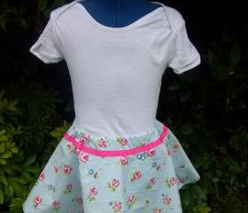 Girls blue floral twirly full skirt
