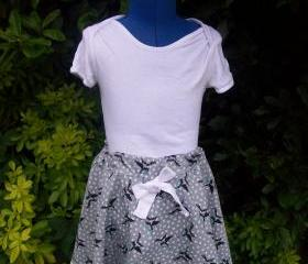 Girls swallow print twirly full skirt