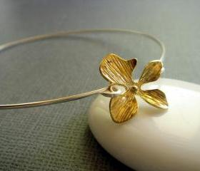 Gold and Silver Orchid Flower Bangle Bracelet