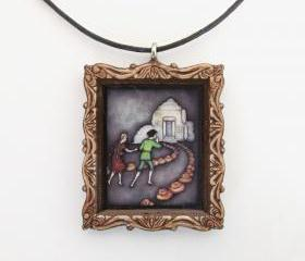 Hansel and Gretel Fairy Tale Pendant and Cord Necklace
