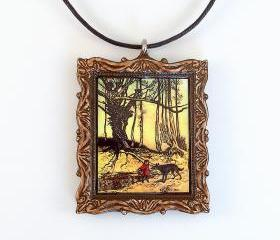Little Red Riding Hood and Wolf Pendant and Necklace