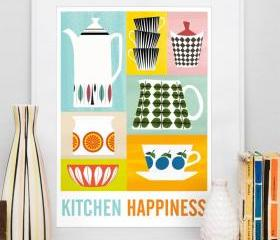 Kitchen Happiness art print, mid century retro poster, Stig Lindberg, Cathrineholm A3