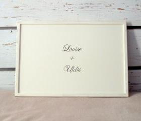 Personalized Wedding Breakfast serving Tray or Laptop Lap Desk- with customized hand painted Initials or Names on Off White tray