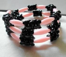 wrap bracelet in pink and black, vintage beads
