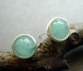 Natural Aquamarine Sterling Silver Wire Wrapped Studs