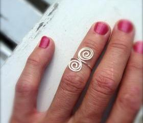 Hand Hammered Double Swirl Silver Ring Mid Finger, Knuckle, Pinky or Toe Ring