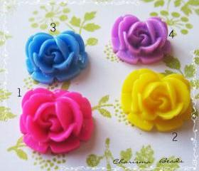 36 Mixed colors -you choose the color and how many- Resin Roses Cabochons Flower Accessory 18x17x8mm