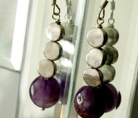 Purple Amethyst and silver Dangle Earrings