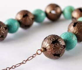 chunky necklace turquoise color with copper