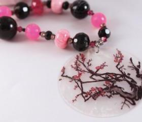 pink and black cherry blossom beaded necklace with matching earrings