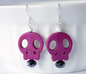 sterling silver pink skull earrings