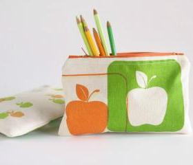 ZIPPER POUCH back to school pencil pouch with apples hand printed