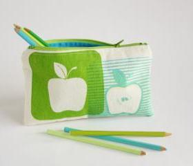 PENCIL POUCH back to school zipper pouch hand printed apples