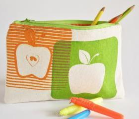 PENCIL POUCH back to school zipper pouch with apples hand printed