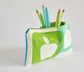 ZIPPER POUCH back to school pencil pouch hand printed apples