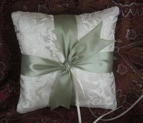 SALE Handmade Ivory Ring Bearer Pillow with light Olive Green ribbon, Ready to Ship