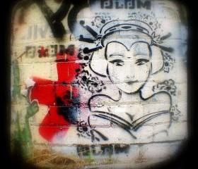 Urban Photography 5x5 Graffiti Street Art Print - TtV Photograph - Girl on Wall Photo