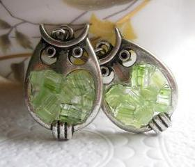 Peridot Stained Glass Owl Earrings