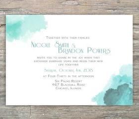 Printable Watercolor Invitation DIY for Wedding or Special Event