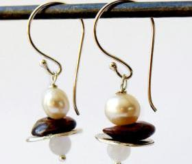 Boho Chic Earrings-Sterling silver,bronce ,and pearl Earrings