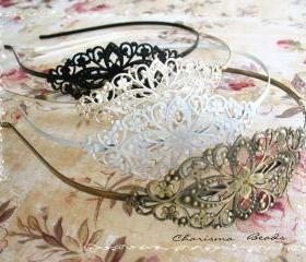 3 Vintage Filigree Antique Brass Blank Metal Headbands 35x78mm ---you choose the color and how many---