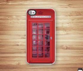 British Red Phone Booth iPhone Hard Case, Fits iPhone 4 and iPhone 4s - White Trim