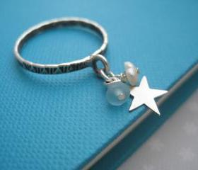 Sterling silver star charm ring - My Star