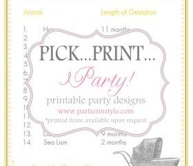Baby Shower Game - Animals and Their Babies - Printable DIY