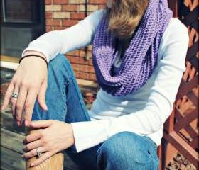 Infinity Scarf Crochet Purple Wool