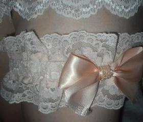 SUPER SALE Handmade Plus size Ivory and Peach Lace Garter