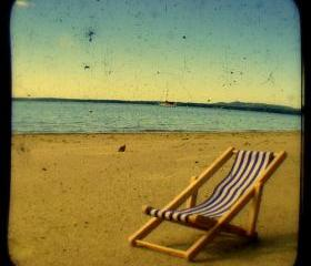 Beach Chair Photo 5x5 TtV Beach Photography - Summer Seaside - Rustic Nautical Home Decor Print